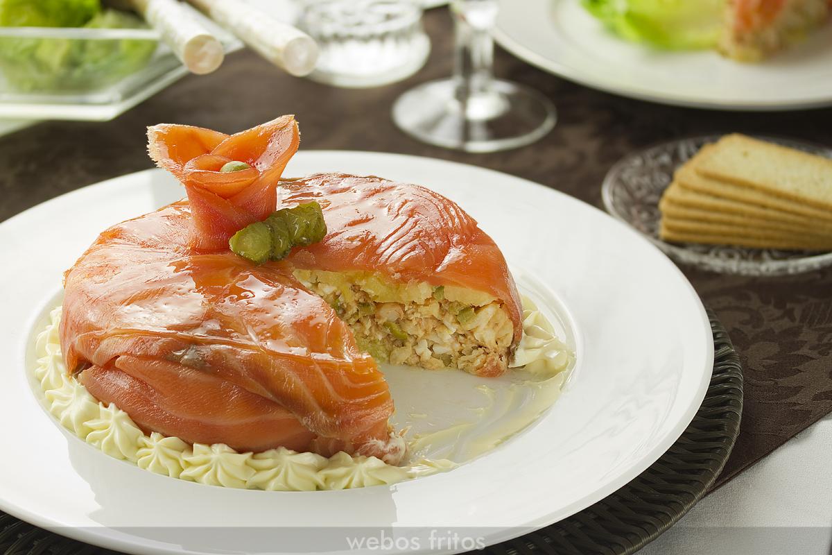 Tarta de merluza y salmón abierta