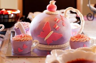 Butterfly Tea Party Cake by Cake Maniac
