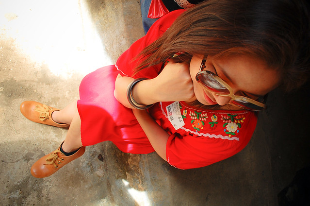 Be Merry And Bright, denise katipunera, Pinay fashion blogger, thrift red dress, camel lace up booties