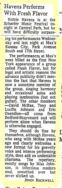 07-13-73 NYT Review - Richie Havens @ Max's Kansas City