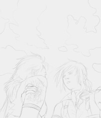 Lightning and Fang standing close and staring intensely at each other. Lightning is grabbing Fang's upper arm, fingers gripping where her brand is. (Thumbnail)
