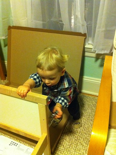 Helping Assemble His Big-Boy Bed