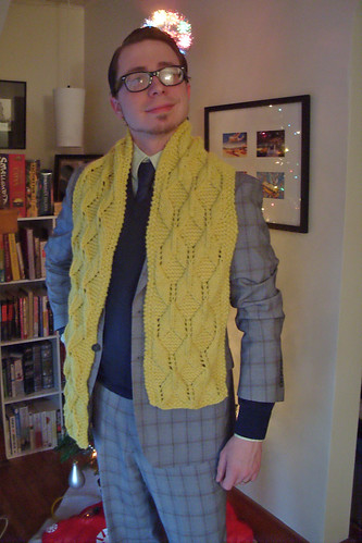 q bert scarf for DH by gradschoolknitter