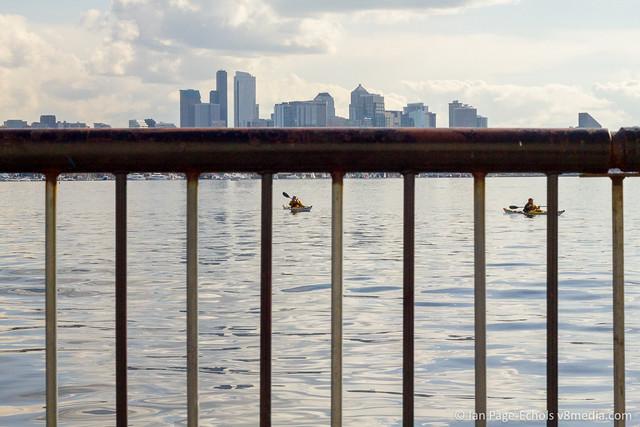 Railing, Kayaks, Downtown Seattle