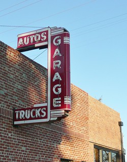 GARAGE ASIGN AUTOS TRUCKS VINTAGE GARAGE LODI CALIF