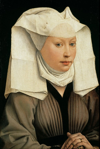 Rogier van der Weyden - Portrait of a Woman with a Winged Bonnet [c.1440] by Gandalf's Gallery