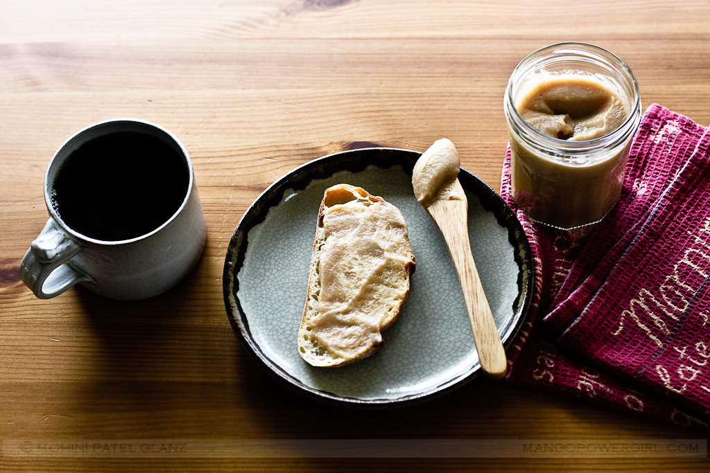 Fresh Apple Butter on Toast with coffee