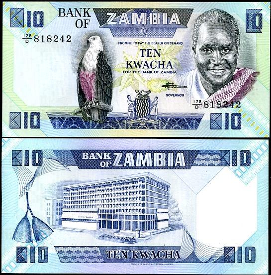 10 Kwacha Zambia 1986-88, Pick 26e