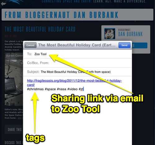 Sharing a link to Zoo Tool via email with tags