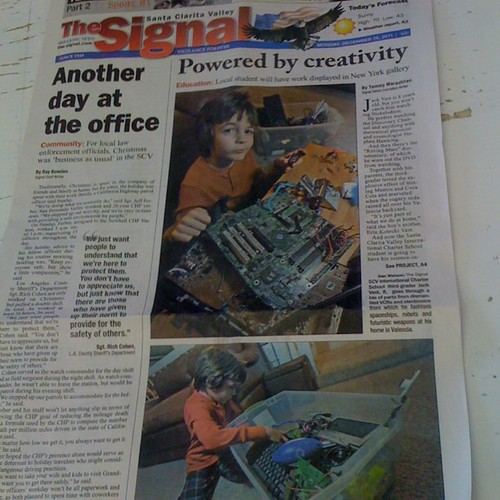Our son on the front page - because Science & Art ROCK!!!