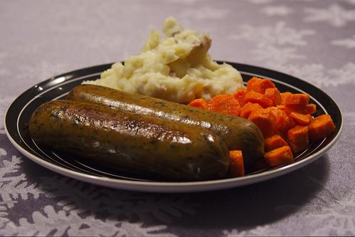 Sausage, Carrots, Mashed Potatoes