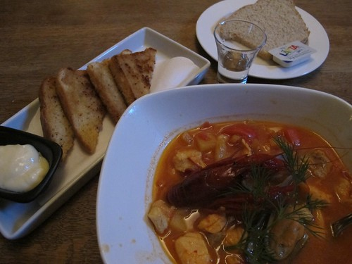 Fish soup, fried bread and mayo, Store Thor, Ystad