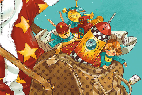My illustration and design for Christmas card, detail