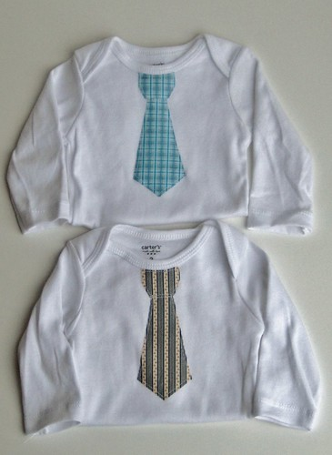Applique onesies, neckties