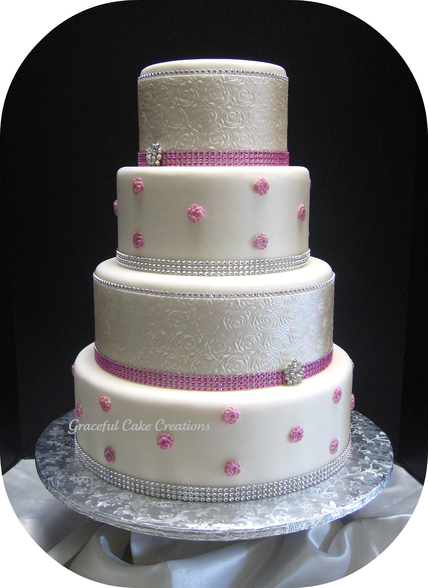 Elegant White and Pink Wedding Cake