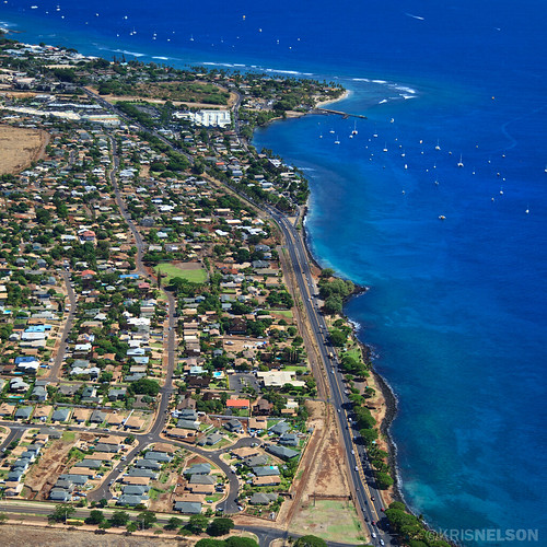 Looking south along the oceanfront highway between Lahaina town and the Ka'anapali Resort Area.