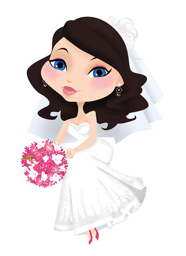 wedding girl, cartoon character, polka dot dress