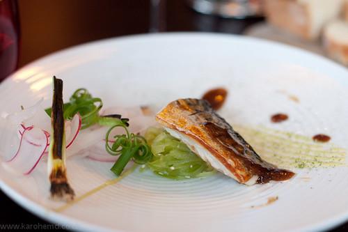 Fish: mackerel, teryiaki glaze, cucumber, radish
