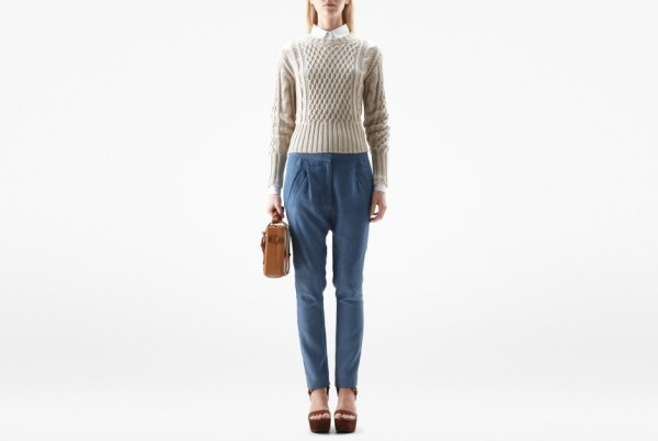 gray sweater cornflower pants
