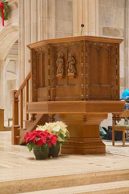 Saint Peter Cathedral, in Belleville, Illinois, USA - pulpit decorated for Christmas