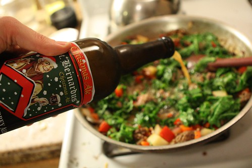 Beef and Mustard Green Stew with St. Bernardus Christmas Ale
