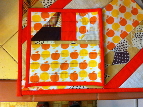 my potholder and dish mat from Anne - PMQG holiday swap