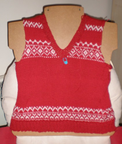 Red and White Pullover