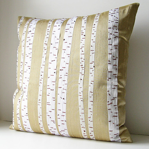 Birch trees silk pillow