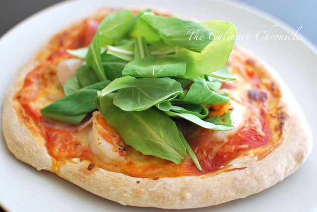 Shrimp and Prosciutto Pizza with Fresh Arugula