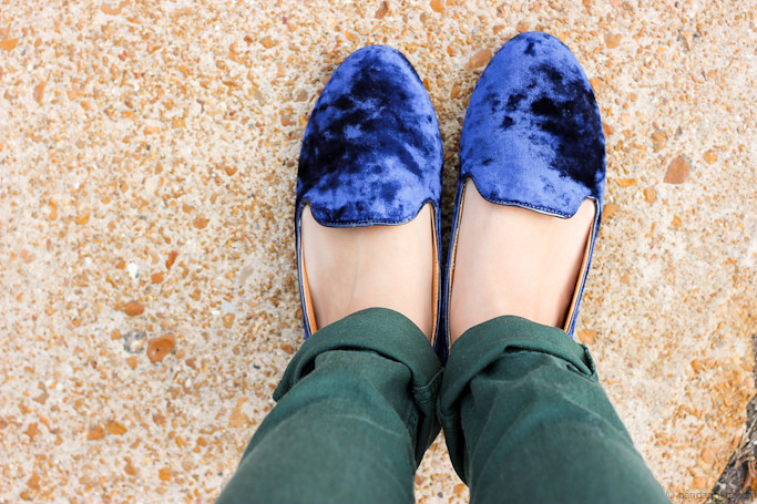 velvet loafers