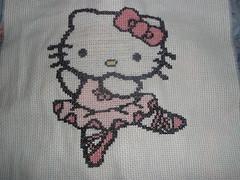 Hello Kitty Bailarina em Ponto de Cruz
