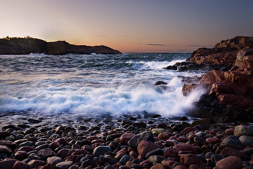storm beach waves stones cliffs geta åland