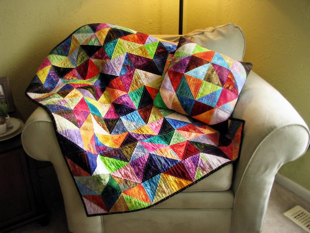 Chevron Half Square Triangle Values Quilt and Pillow