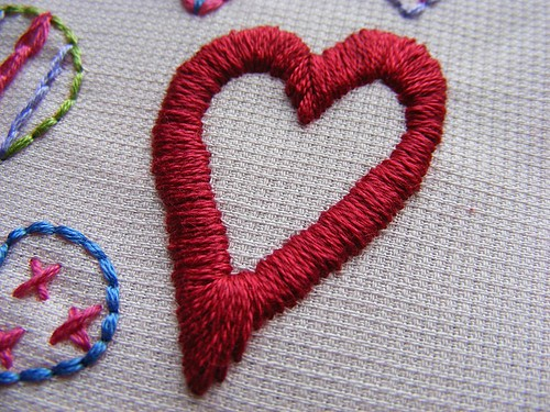 Hearts Sampler Embroidery Pattern detail 3
