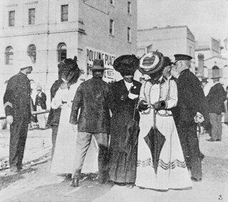 Women at the first state election comparing notes, Brisbane, 1907