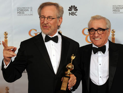 Martin Scorsese and Steven Spielberg in tuxedos
