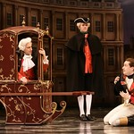 Captain Jack Absolute (Scott Ferrara, r.) cowers in the presence of his powerful father Sir Anthony Absolute (Will LeBow, in carriage) in the Huntington Theatre Company's production of