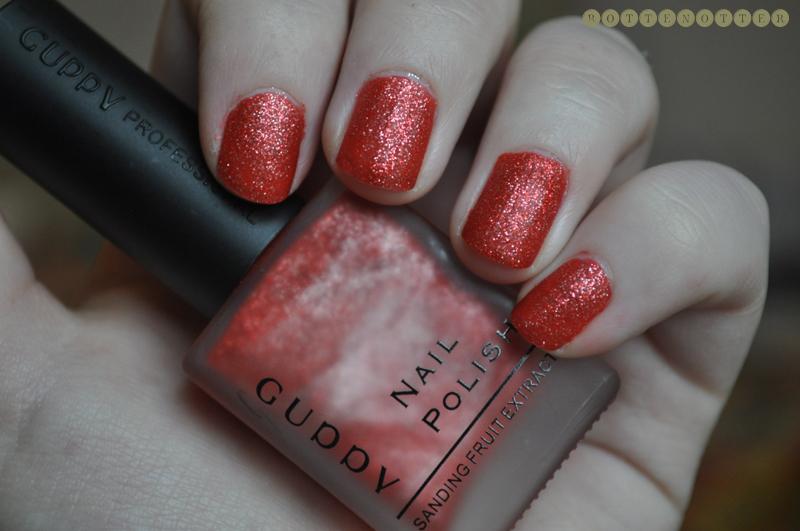 guppy 8 cuddv red glitter matte nail polish notd