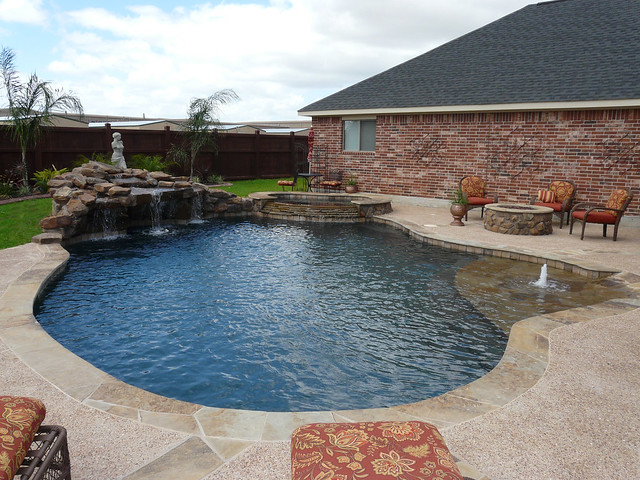 Pulliam Pools Katy Pool With Rock Waterfall Firepit