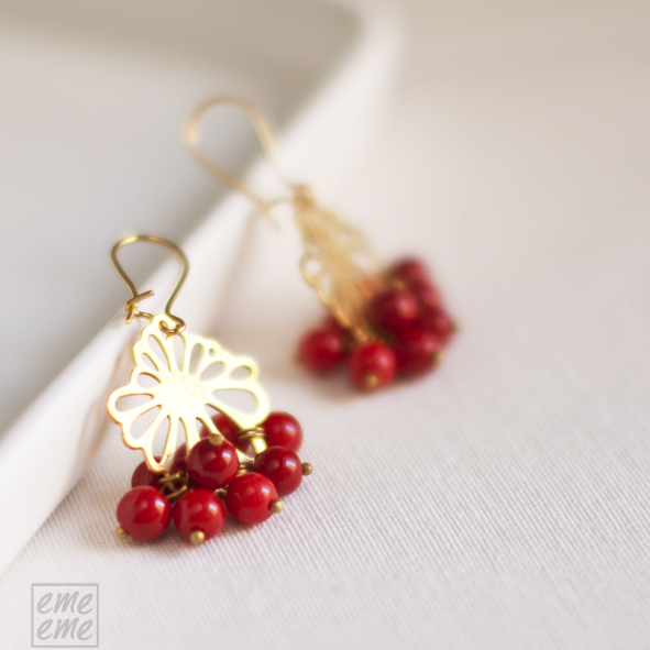 Earrings Peony Brass filligree and red glass beads