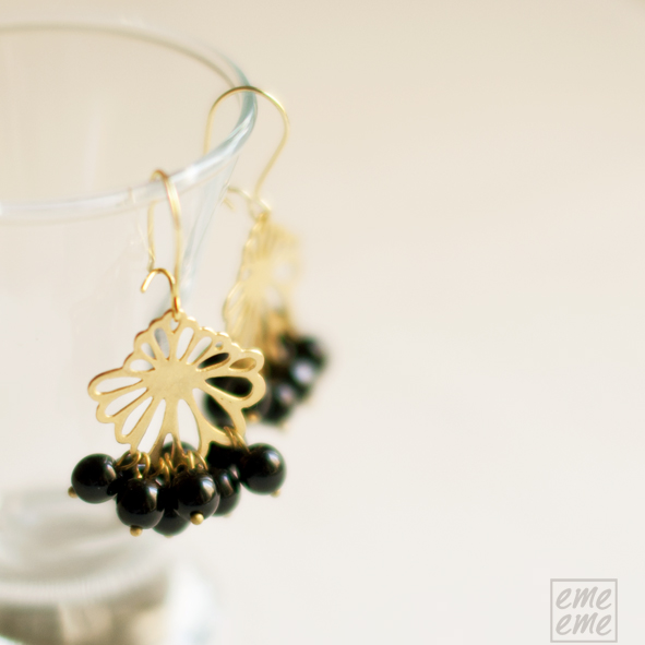 Earrings Peony Brass filligree and black glass beads