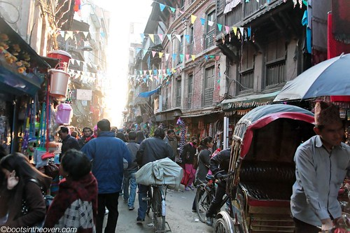 Thamel Traffic (imagine blaring horns)