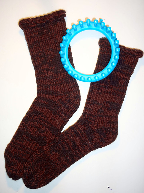 Thing-A-Day 2012 Day 1: Loom-Knit Socks