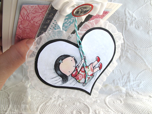 MFT whee stamped Heart hangs off of the card so it swings when handled - mel stampz