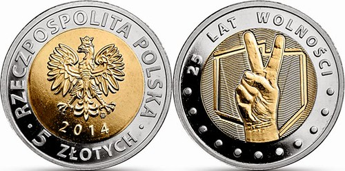 Polish 25 years of Freedom coin