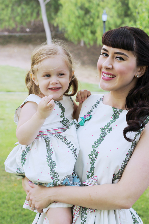 Bryony & Co. Mabel Dress in Ivory Giraffe Martha Dress in Giraffe House