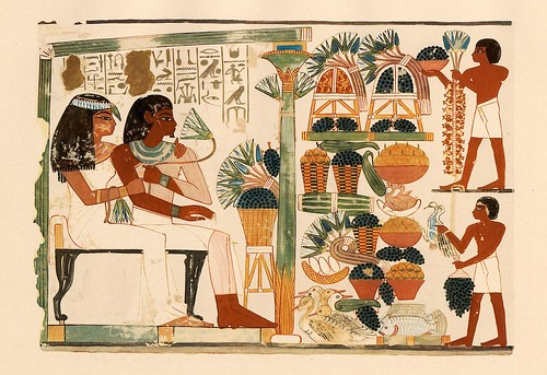 019-Nakht y sue esposa sentados viendo la recoleccion de frutos- The tomb of Nakht at Thebes  1917- Norman de Garis Davies- © Universitätsbibliothek Heidelberg