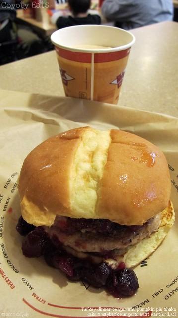 Turkey dinner burger and pumpkin pie shake