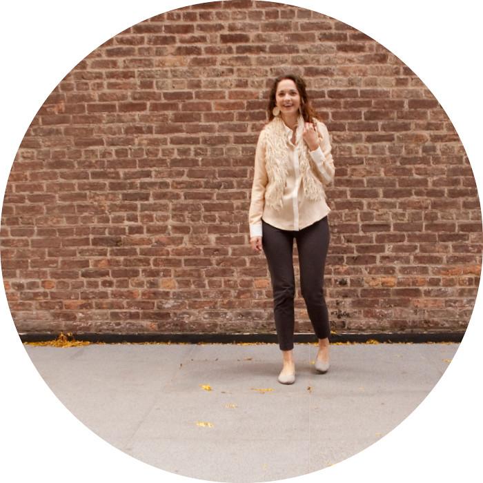 dashdotdotty, outfit, fall, layers, furry vest, cropped pants, flats, zara silk shirt