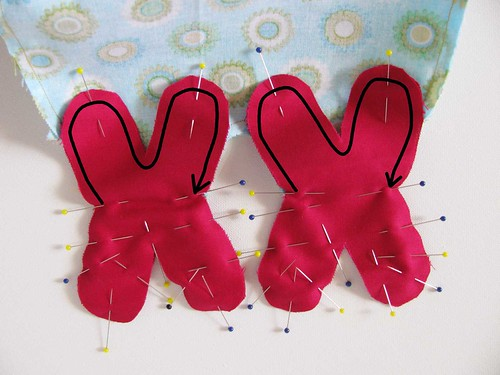 Pin and sew the claw pieces